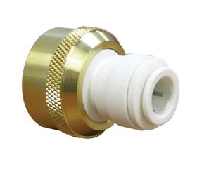 "John Guest Brass/Polypropylene Female Connector (Garden Hose) 3/8"" x 3/4""-11.5 Brass NH"